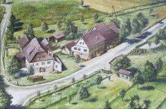 Die ehemalige Ziegelhütte an der Kreuzung nach Mindersbach.