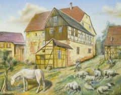 Das Gasthaus Löwen am Pfarrberg, das einen großen Weinkeller besaß.